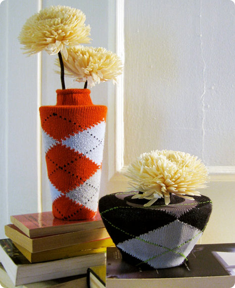 DIY Argyle Sock Vases