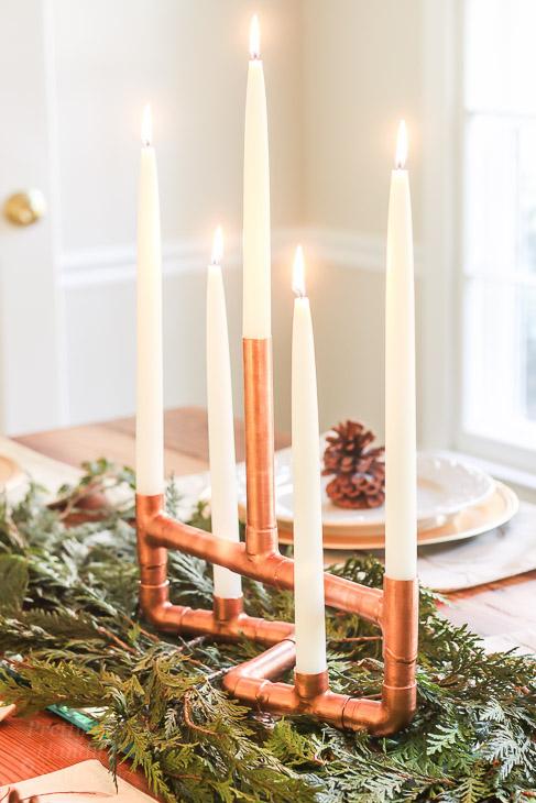 DIY Copper Pipe Centerpiece Candelabr