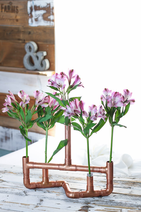 DIY Copper Pipe Floral Centerpiece