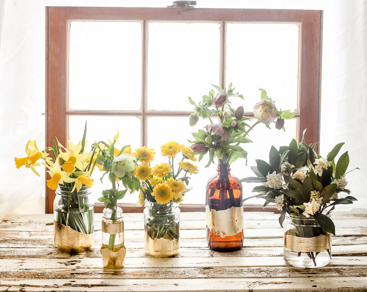 DIY Gold Leaf Bottle Vases