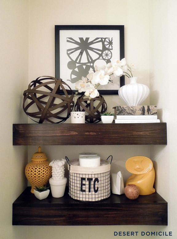 DIY $15 Chunky Wooden Floating Shelves by DesertDomicile