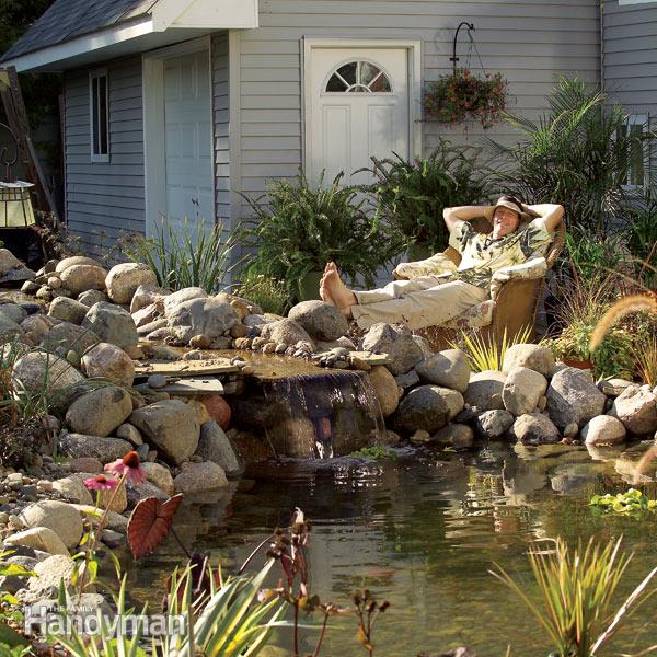 DIY Backyard Pond and Waterfall by FamilyHandyman