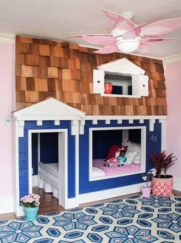 DIY Bunk Bed Playhouse by REMODELaholic