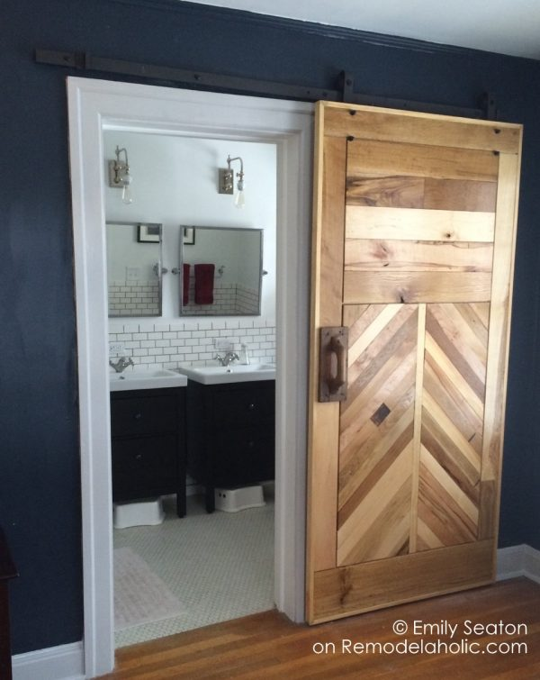 DIY Chevron Barn Door by REMODELaholic