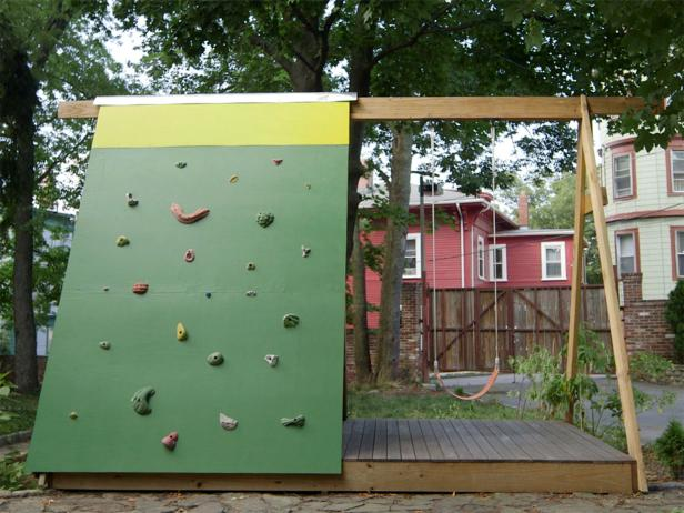 DIY Combination of Swing Set, Playhouse & Climbing Wall