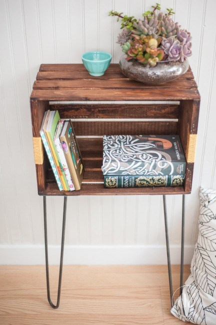 DIY Crate Furniture Side Table or Nighstand