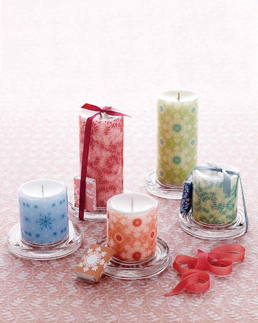 DIY Decorative Decal Pillar Candles
