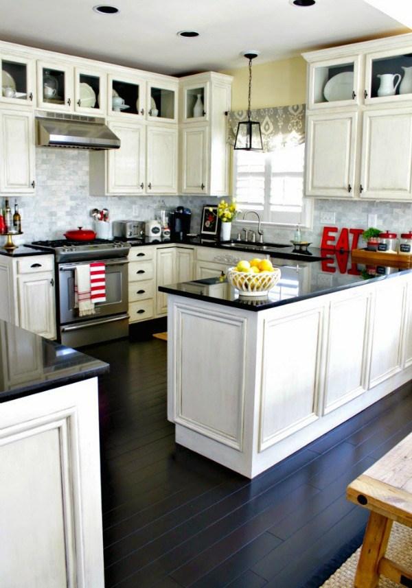 DIY Distressed Kitchen Cabinets