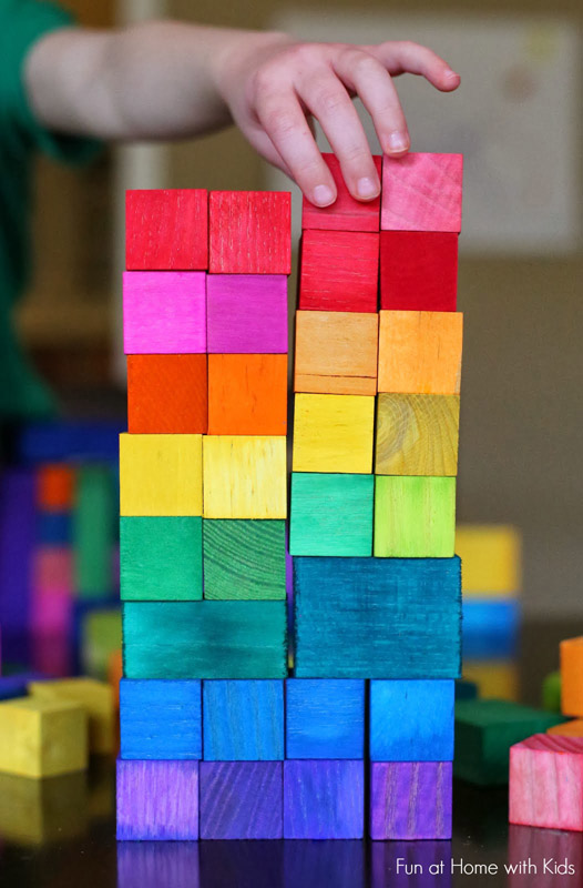 DIY Dyed Rainbow Grimm Style Wooden Blocks