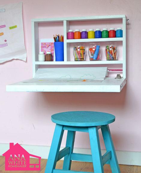 DIY Flip Down Wall Art Desk by Ana White