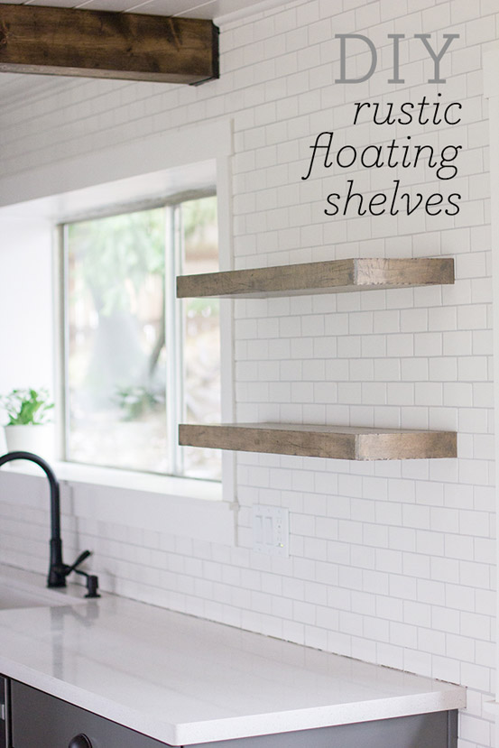 DIY Floating Rustic Shelves by JennaSueDesign