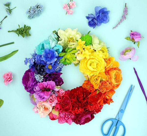 DIY Floral Rainbow Wreath