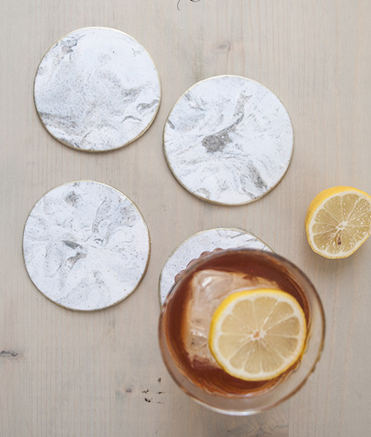 DIY Gold Rimmed Faux Marble Coasters