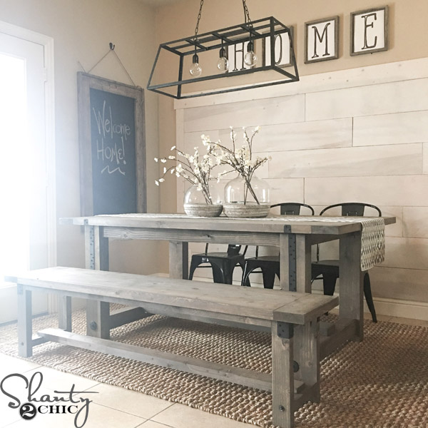 DIY Industrial Farmhouse Table by Shanty2Chic