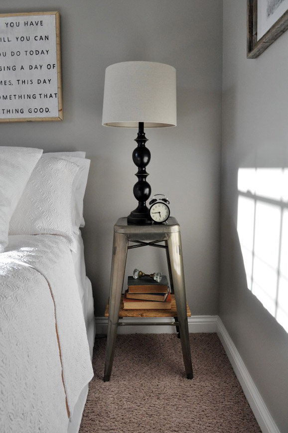 DIY Industrial Stool Nightstand