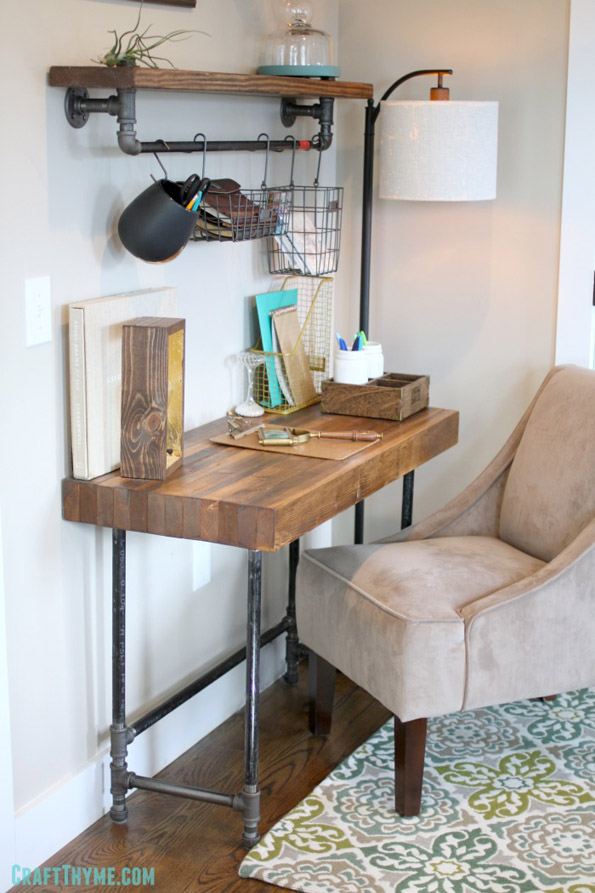 DIY Industrial Wooden Desk by CraftThyme