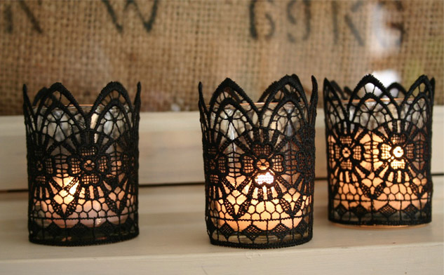 DIY Lace Candle Holder