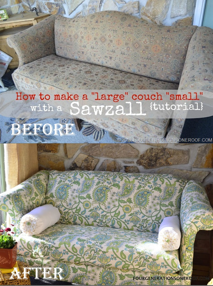 DIY Make Large Couch Small