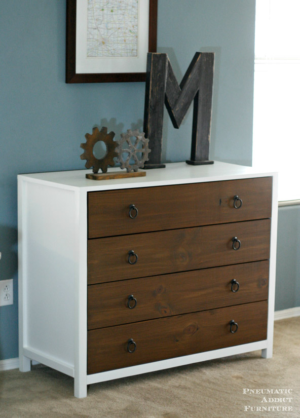 DIY Modern White Dresser with Wood Drawers