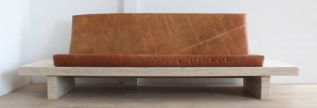 DIY Modern Wood Couch With Leather Cushions