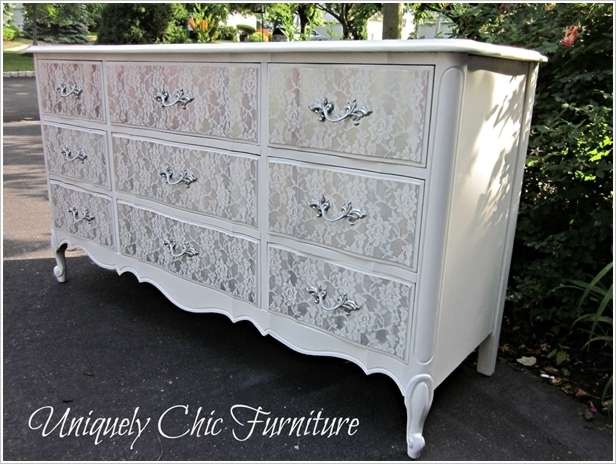 DIY Old Dresser Lace Makeover