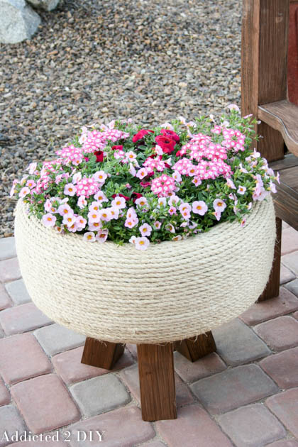 DIY Old Tire Flower Planter