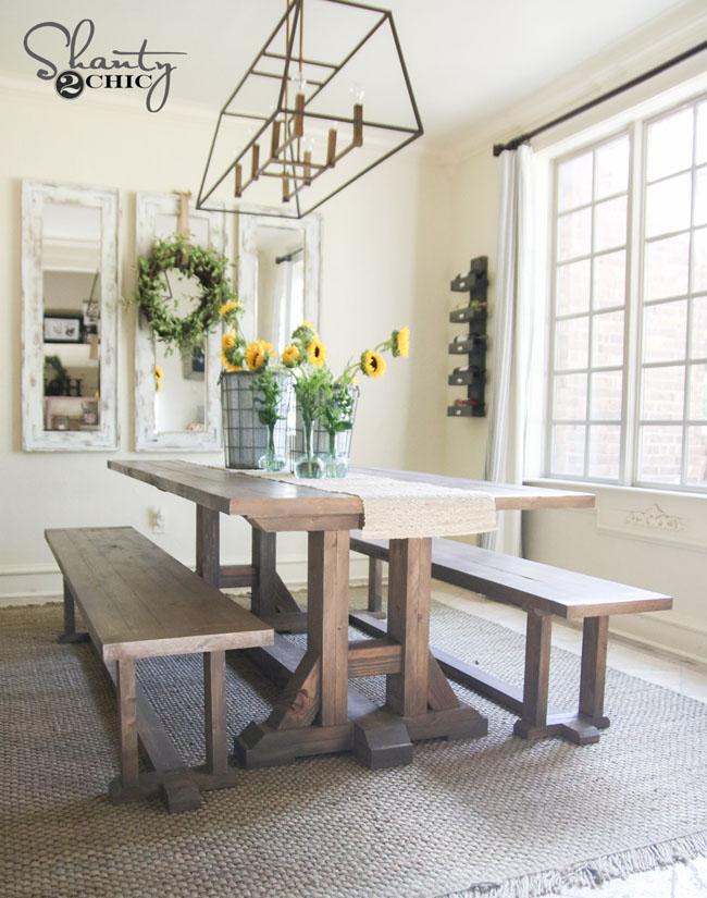DIY Pottery Barn Inspired Farmhouse Table by Shanty2Chic