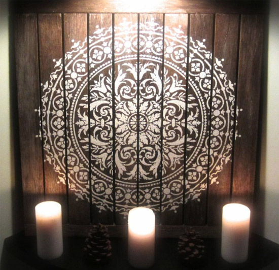 DIY Reclaimed Wood Wall Art Using Mandala Stencils