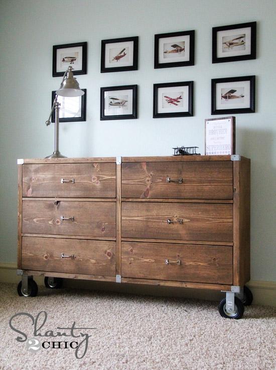 DIY Rolling Rustic Wood Dresser