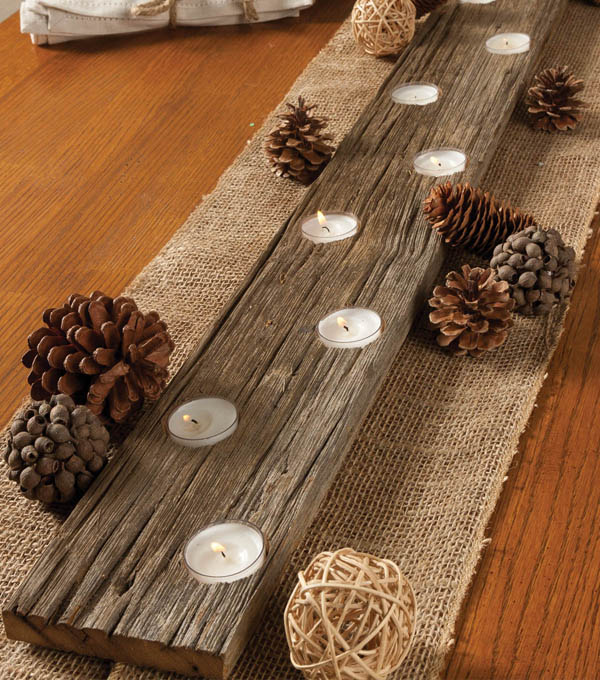 DIY Rustic Lit Candle Holder