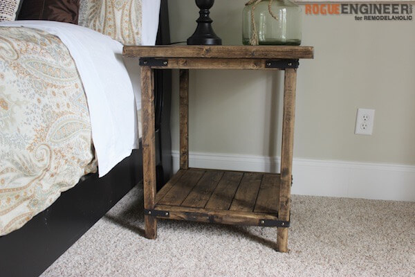DIY Rustic Square Bedside Table