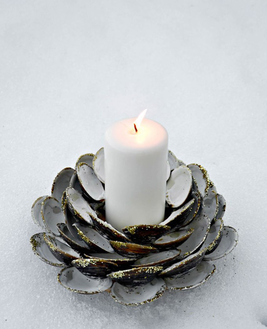 DIY Seashell Candle Holder
