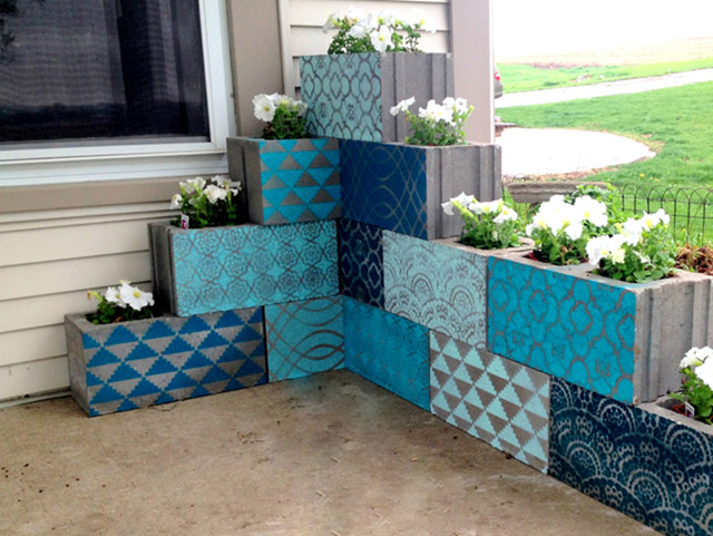DIY Stenciled Cinder Block