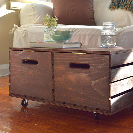 DIY Storage Ottoman From Wooden Crates