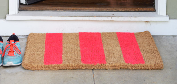 DIY Striped Neon Doormat