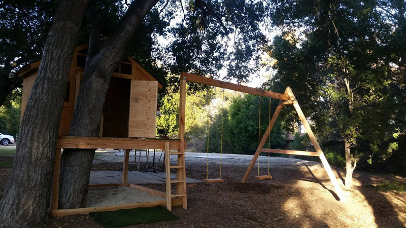DIY Swing Set For The Playhouse