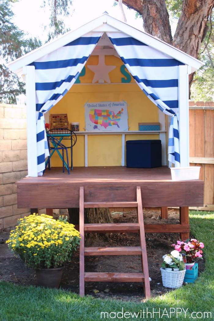 DIY Treehouse Playhouse by MadeWithHappy