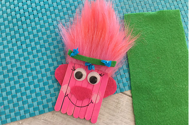 DIY Trolls Poppy Popsicle Stick Craft for Kids