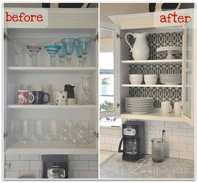 DIY Wallpaper-Lined Kitchen Cabinets