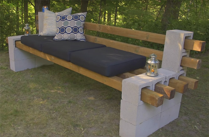 DIY Cinder Block Bench by BelairdirectMagazine