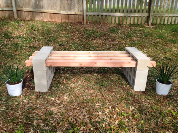 DIY Cinder Block Bench by FabEveryday