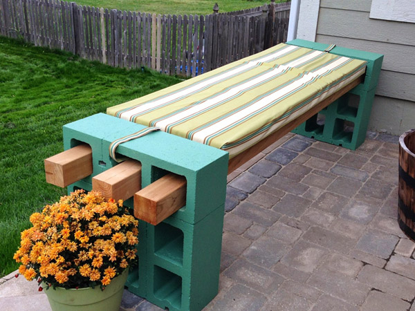 DIY Cinder Block Bench by Kimberly