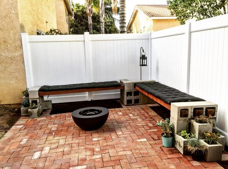 DIY Cinder Block Bench by MinceRepublic