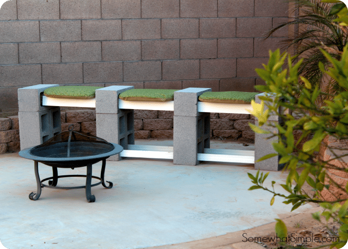 DIY Cinder Block Bench by SomewhatSimple