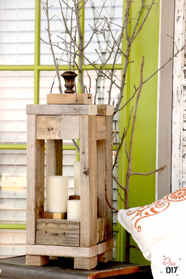 DIY Rustic Lantern with 2x4s