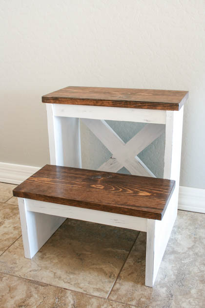DIY Rustic X Back Step Stool