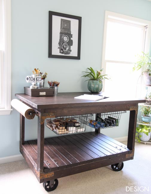 DIY Vintage Industrial Craft Cart Table