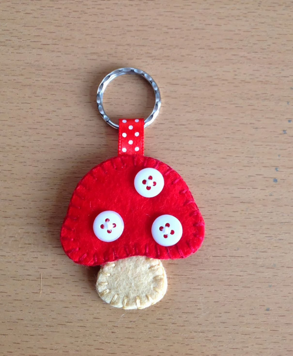 Felt Toadstool Key Ring