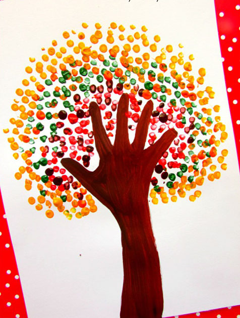 DIY Autumn Handprint Tree