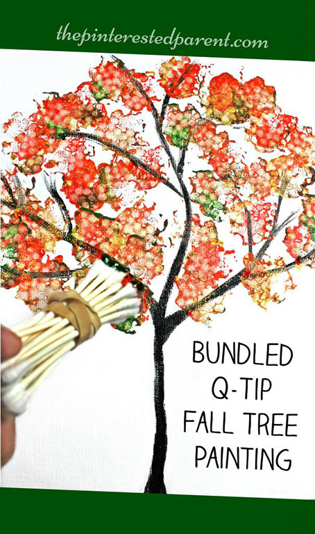 DIY Bundled Q-Tip Autumn Tree